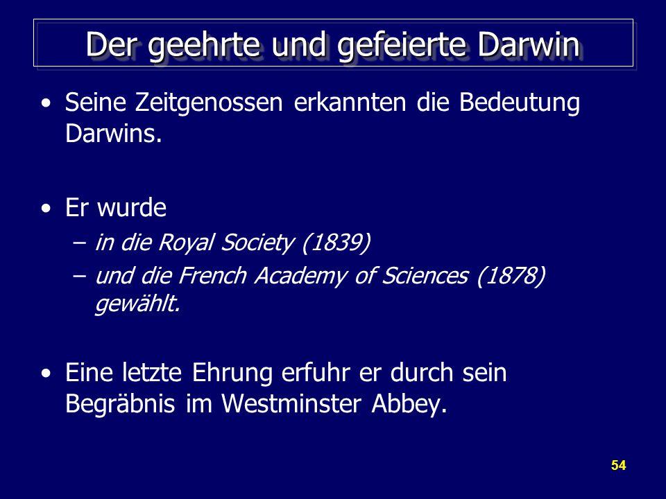 Der geehrte und gefeierte Darwin