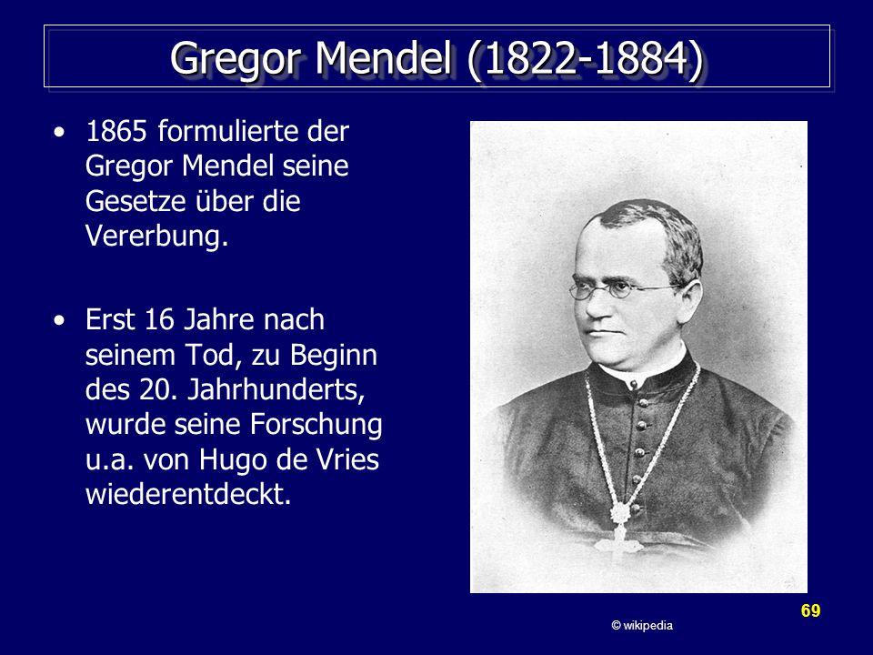 Gregor Mendel (1822-1884) 1865 formulierte der Gregor Mendel seine Gesetze über die Vererbung.