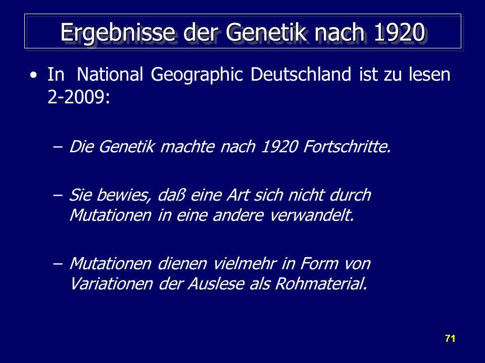Ergebnisse der Genetik nach 1920