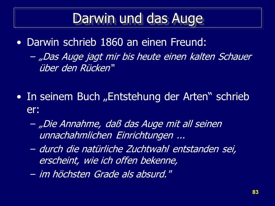 Darwin und das Auge Darwin schrieb 1860 an einen Freund: