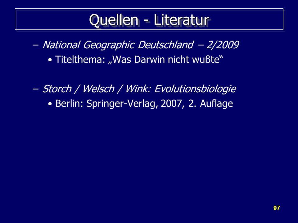 Quellen - Literatur National Geographic Deutschland – 2/2009
