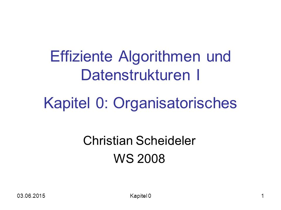 Christian Scheideler WS 2008