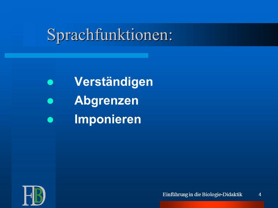 Sprachfunktionen: Verständigen Abgrenzen Imponieren