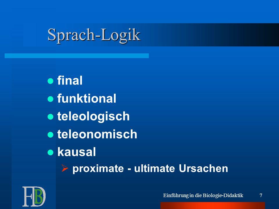 Sprach-Logik final funktional teleologisch teleonomisch kausal