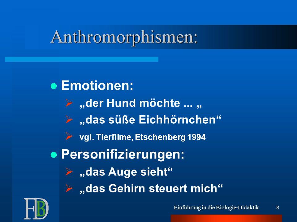 Anthromorphismen: Emotionen: Personifizierungen: