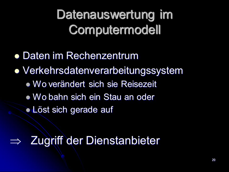Datenauswertung im Computermodell
