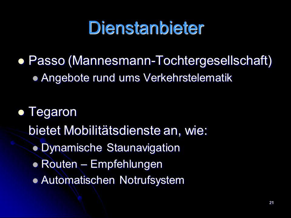 Dienstanbieter Passo (Mannesmann-Tochtergesellschaft) Tegaron