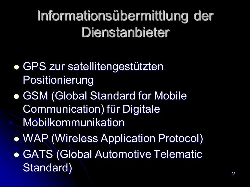 Informationsübermittlung der Dienstanbieter