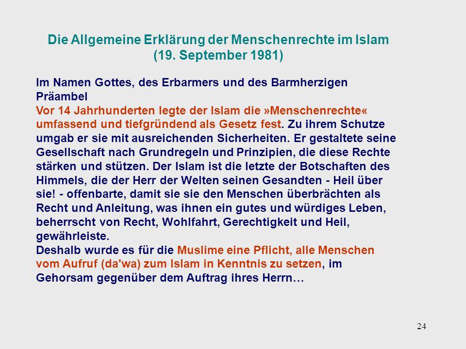 Die Allgemeine Erklärung der Menschenrechte im Islam