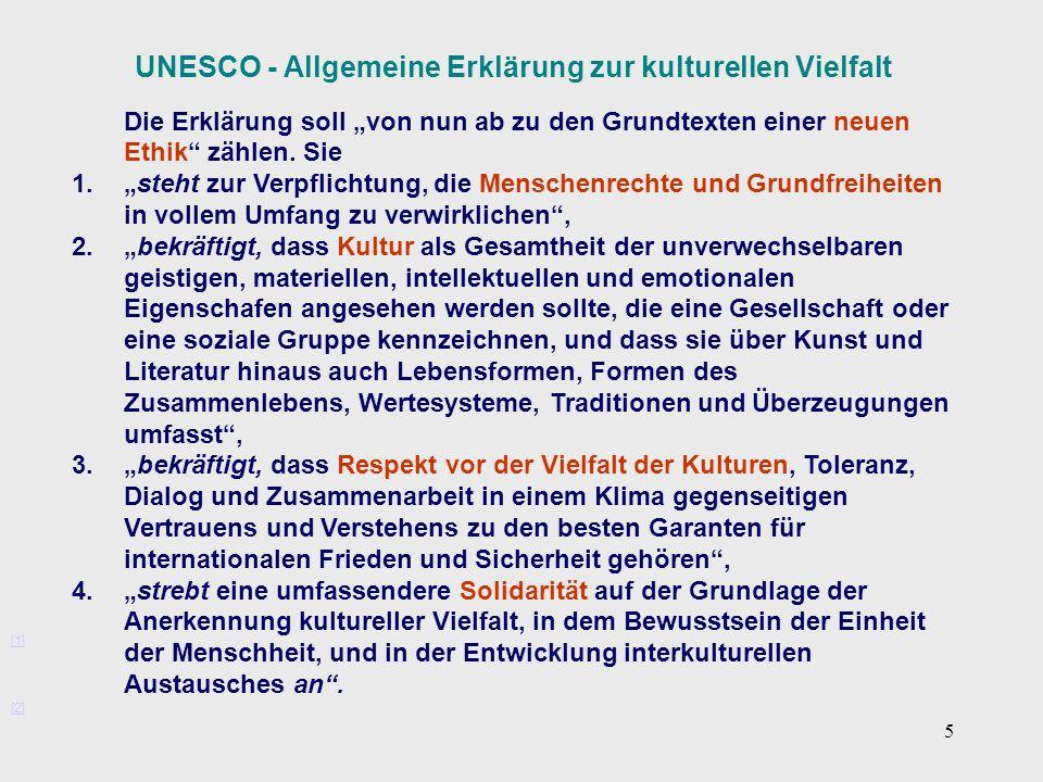 UNESCO - Allgemeine Erklärung zur kulturellen Vielfalt