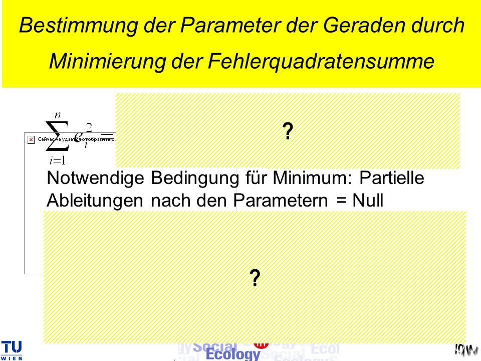 Bestimmung der Parameter der Geraden durch Minimierung der Fehlerquadratensumme