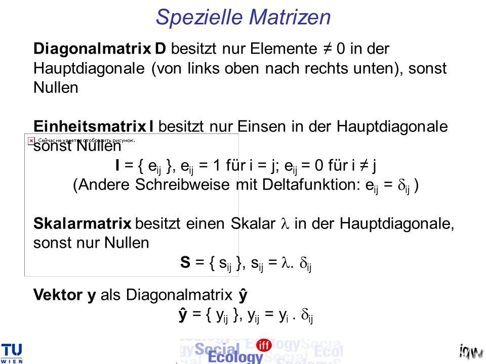 Spezielle Matrizen Diagonalmatrix D besitzt nur Elemente ≠ 0 in der Hauptdiagonale (von links oben nach rechts unten), sonst Nullen.