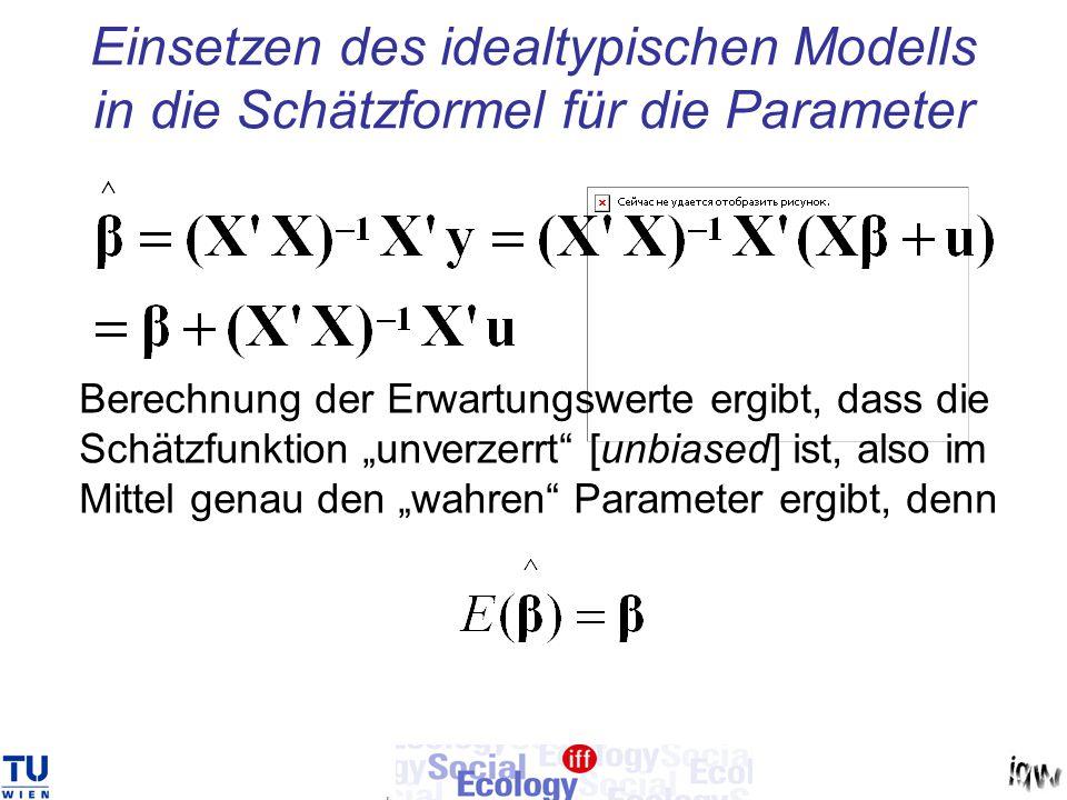 Einsetzen des idealtypischen Modells in die Schätzformel für die Parameter