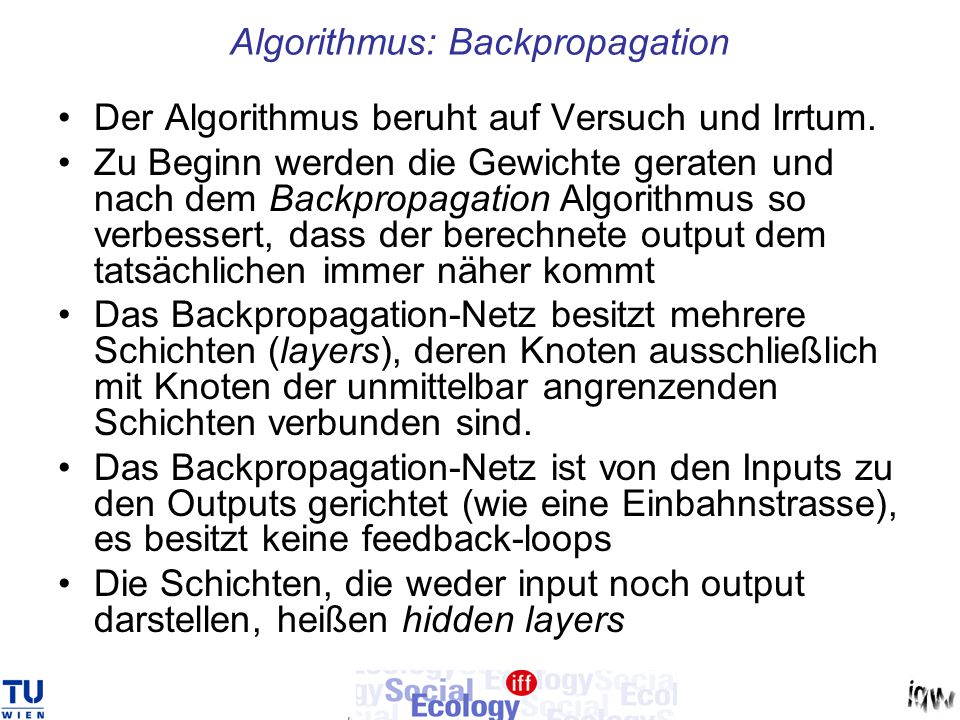Algorithmus: Backpropagation