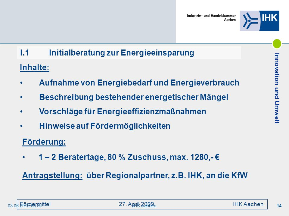 I.1 Initialberatung zur Energieeinsparung
