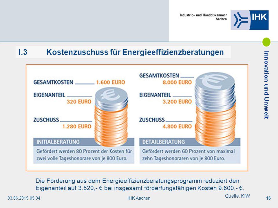I.3 Kostenzuschuss für Energieeffizienzberatungen