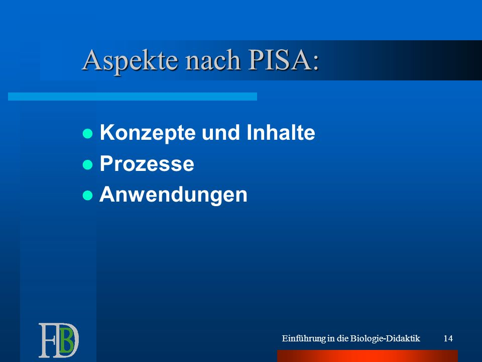 Aspekte nach PISA: Konzepte und Inhalte Prozesse Anwendungen