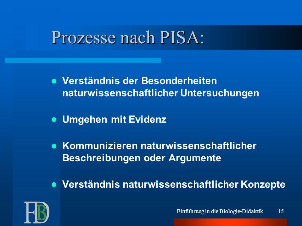 Prozesse nach PISA: Verständnis der Besonderheiten naturwissenschaftlicher Untersuchungen. Umgehen mit Evidenz.
