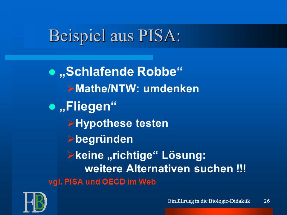 """Beispiel aus PISA: """"Schlafende Robbe """"Fliegen Mathe/NTW: umdenken"""