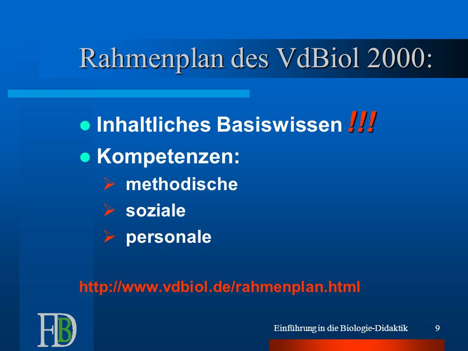 Rahmenplan des VdBiol 2000:
