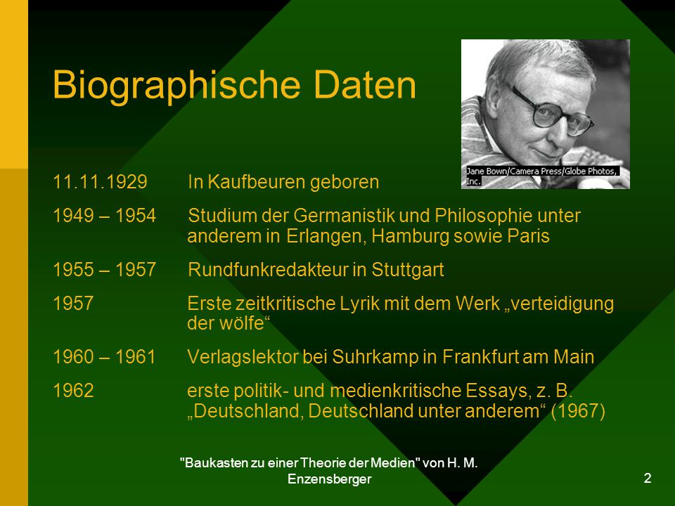 Baukasten zu einer Theorie der Medien von H. M. Enzensberger
