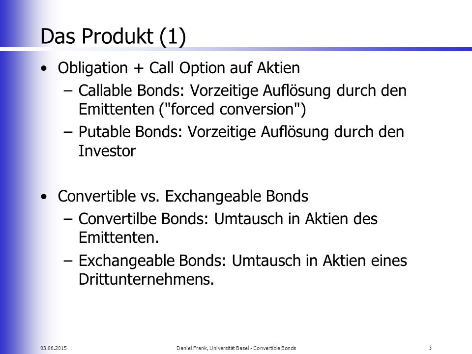Daniel Frank, Universität Basel - Convertible Bonds