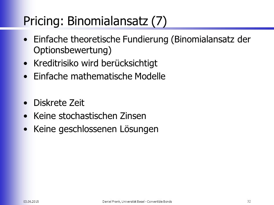 Pricing: Binomialansatz (7)
