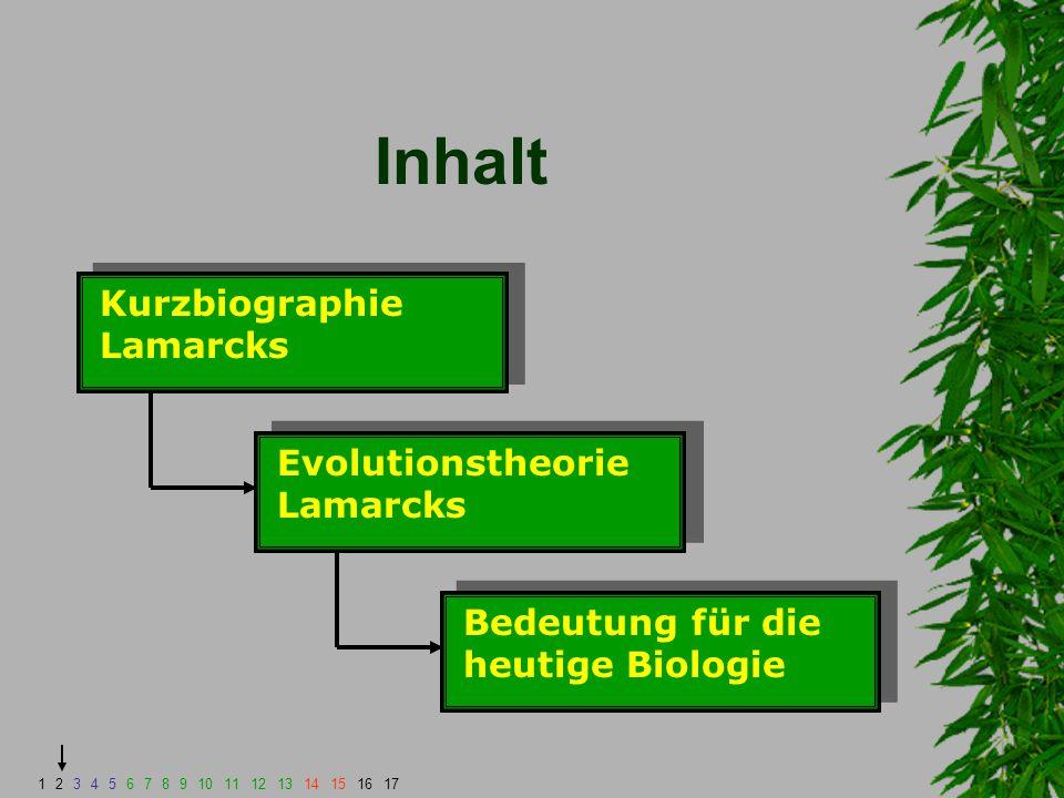 Inhalt Kurzbiographie Lamarcks Evolutionstheorie Lamarcks