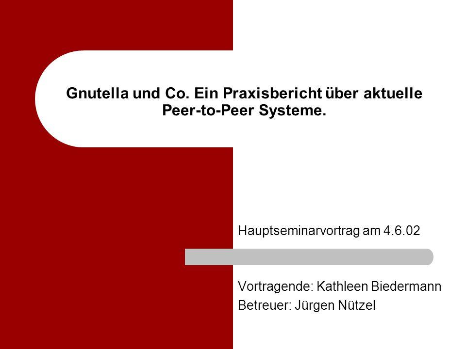 Gnutella und Co. Ein Praxisbericht über aktuelle Peer-to-Peer Systeme.