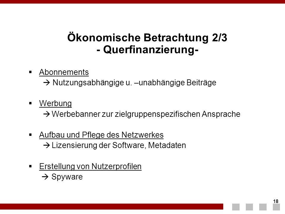 Ökonomische Betrachtung 2/3 - Querfinanzierung-