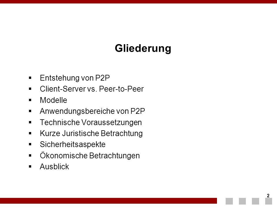 Gliederung Entstehung von P2P Client-Server vs. Peer-to-Peer Modelle