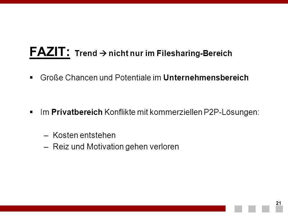 FAZIT: Trend  nicht nur im Filesharing-Bereich
