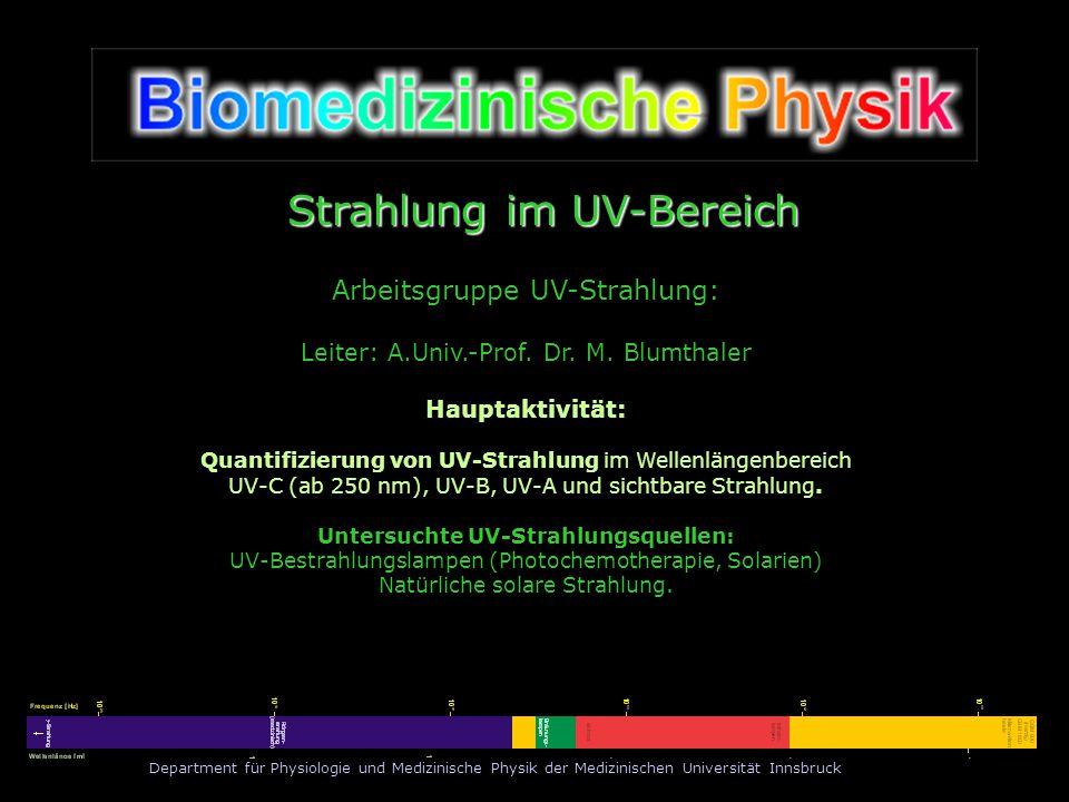 Untersuchte UV-Strahlungsquellen: