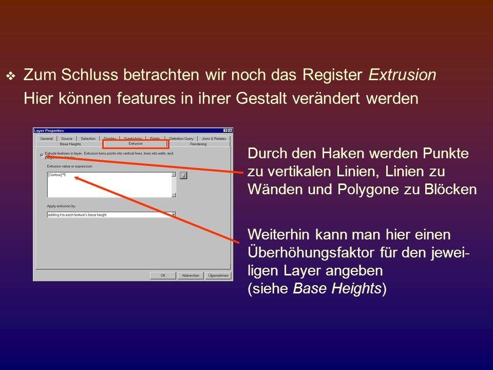 Zum Schluss betrachten wir noch das Register Extrusion