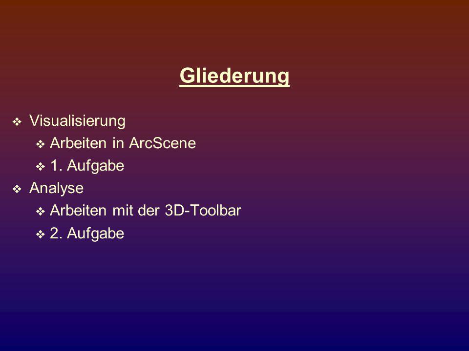 Gliederung Visualisierung Arbeiten in ArcScene 1. Aufgabe Analyse