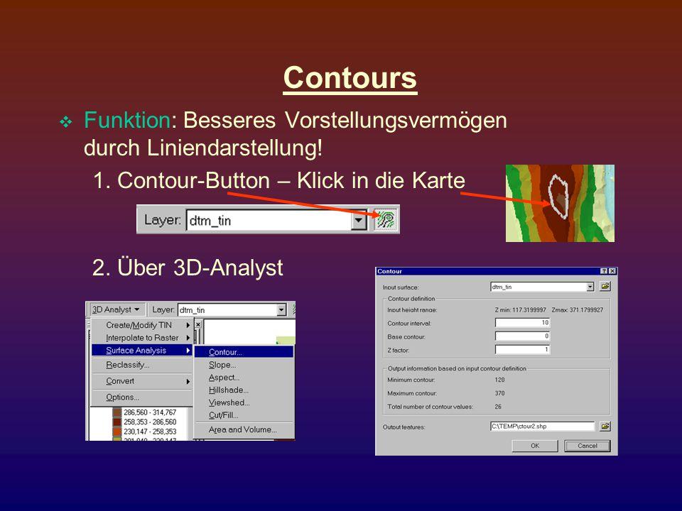 Contours Funktion: Besseres Vorstellungsvermögen durch Liniendarstellung! 1. Contour-Button – Klick in die Karte.