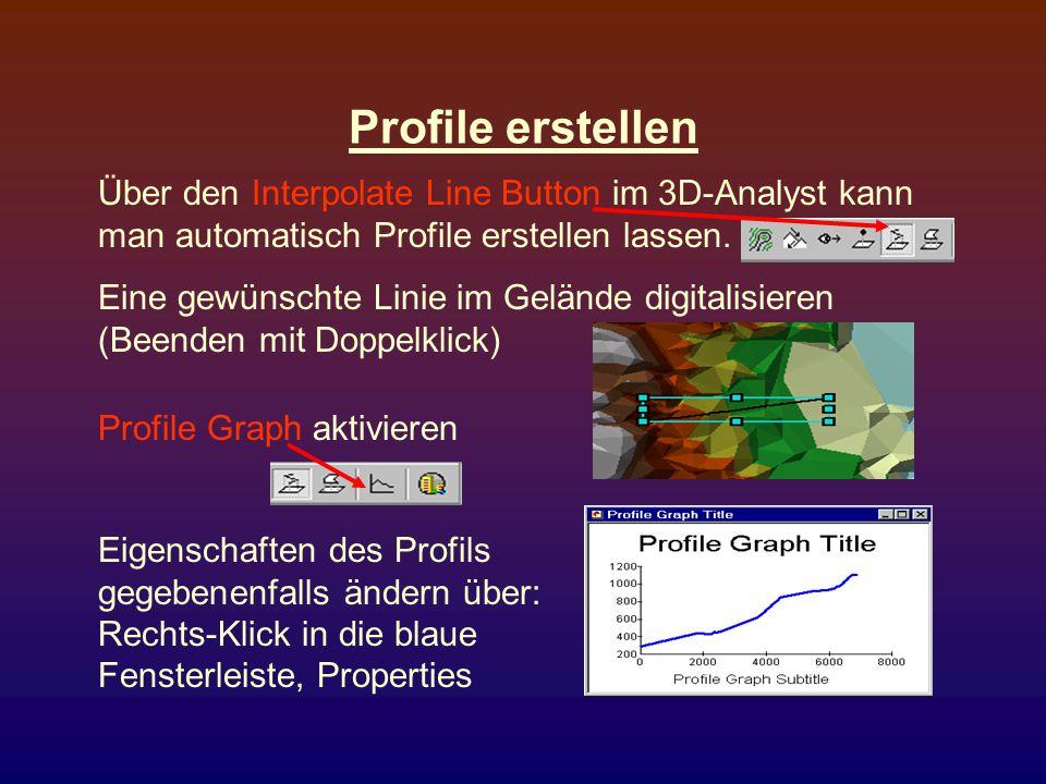 Profile erstellen Über den Interpolate Line Button im 3D-Analyst kann