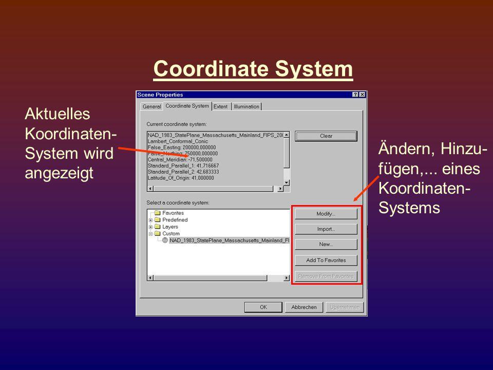 Coordinate System Aktuelles Koordinaten- System wird angezeigt