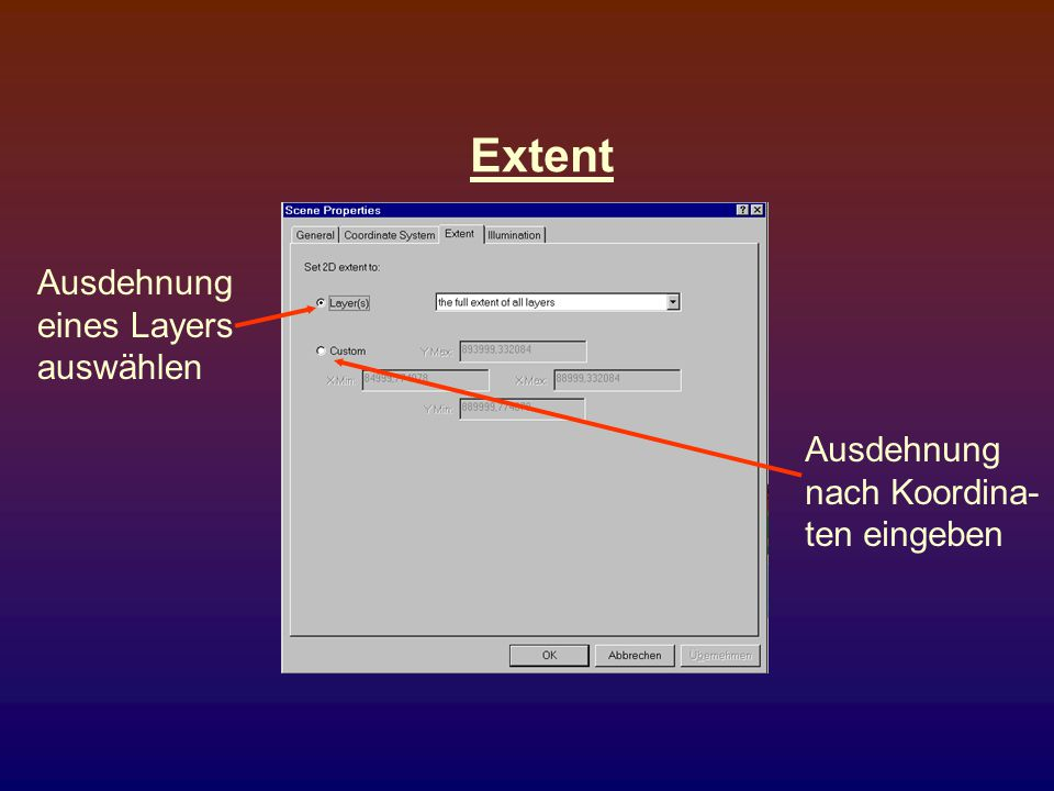 Extent Ausdehnung eines Layers auswählen Ausdehnung nach Koordina-