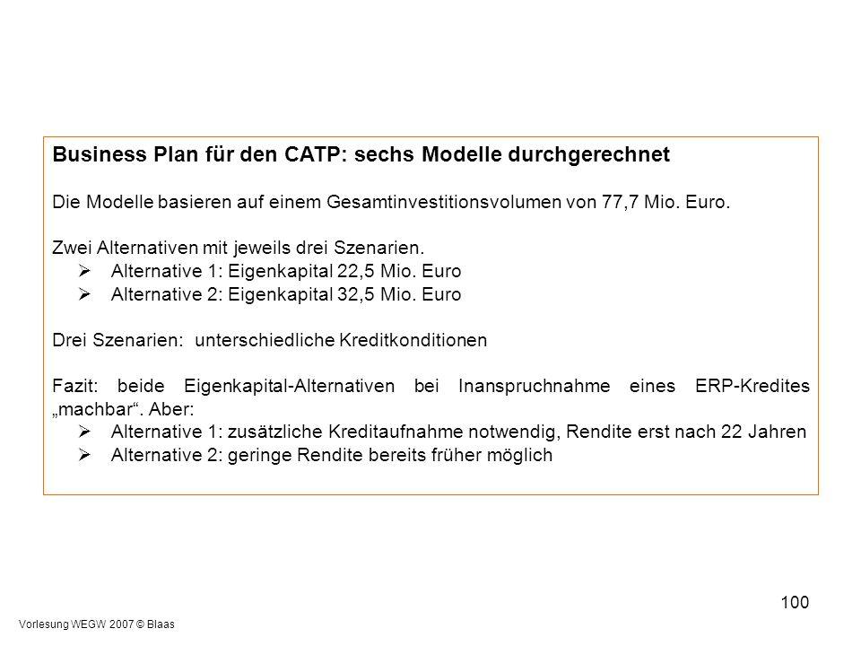 Business Plan für den CATP: sechs Modelle durchgerechnet