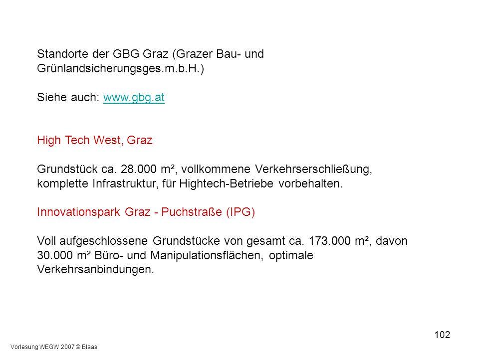 Standorte der GBG Graz (Grazer Bau- und Grünlandsicherungsges.m.b.H.)