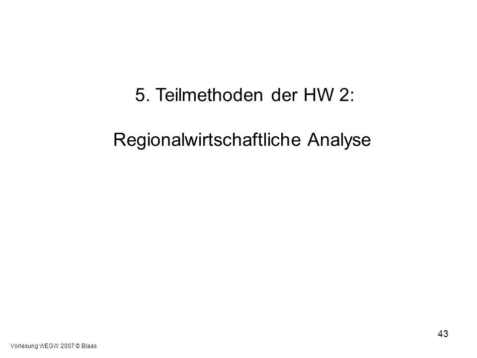 5. Teilmethoden der HW 2: Regionalwirtschaftliche Analyse