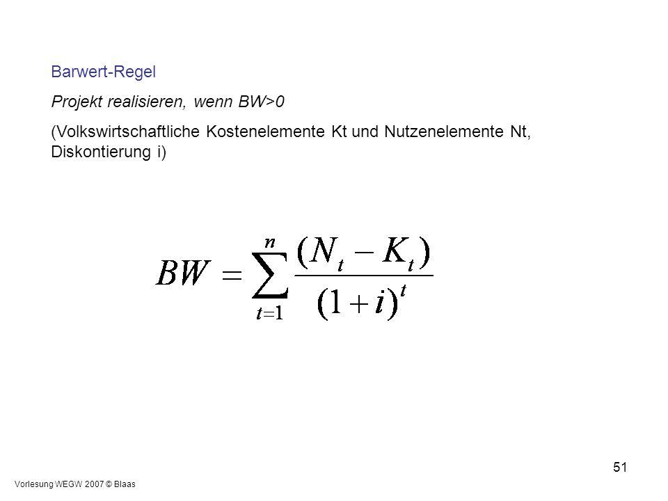 Projekt realisieren, wenn BW>0