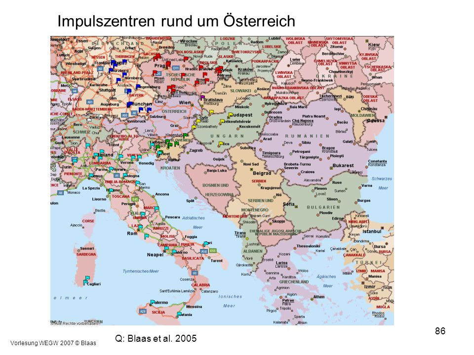 Impulszentren rund um Österreich