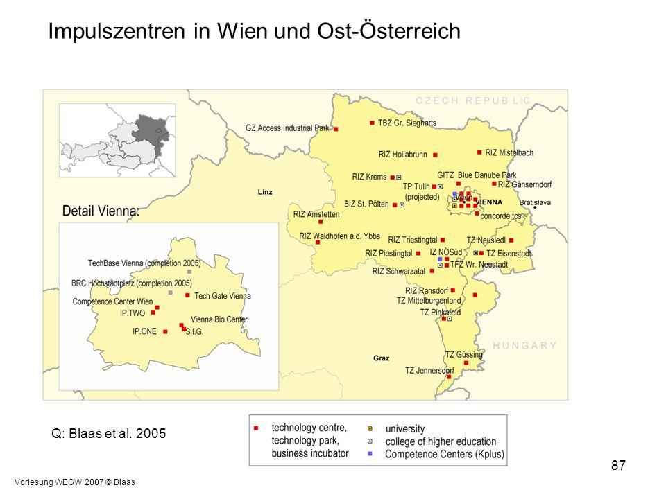 Impulszentren in Wien und Ost-Österreich