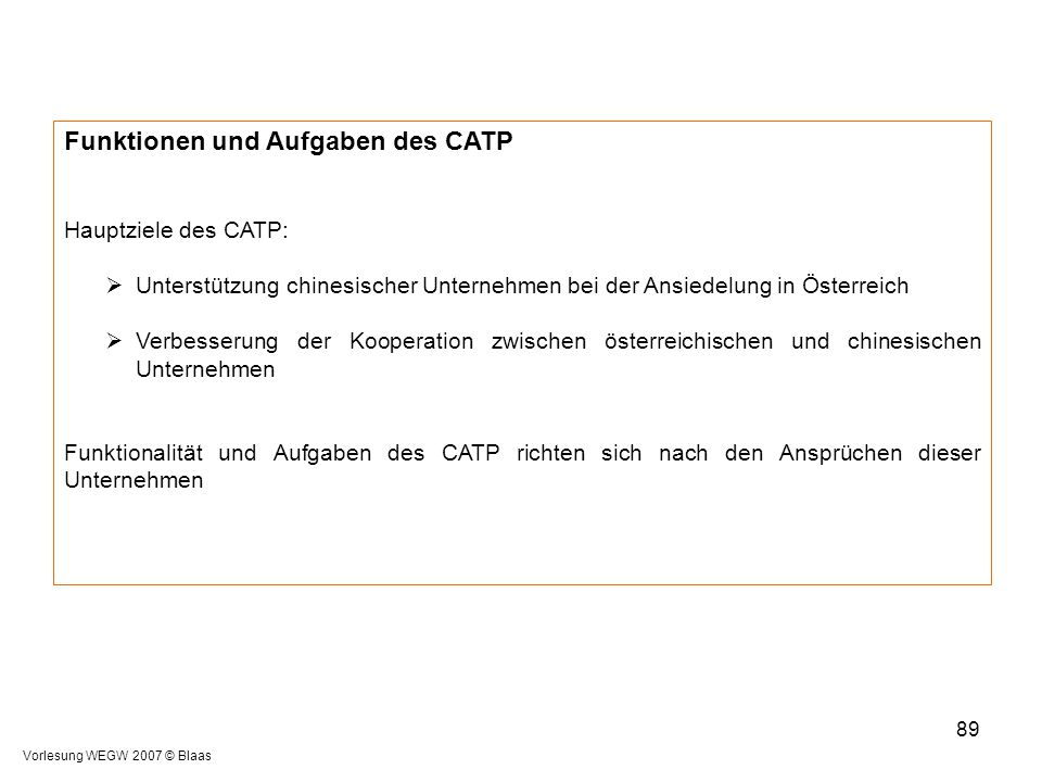 Funktionen und Aufgaben des CATP
