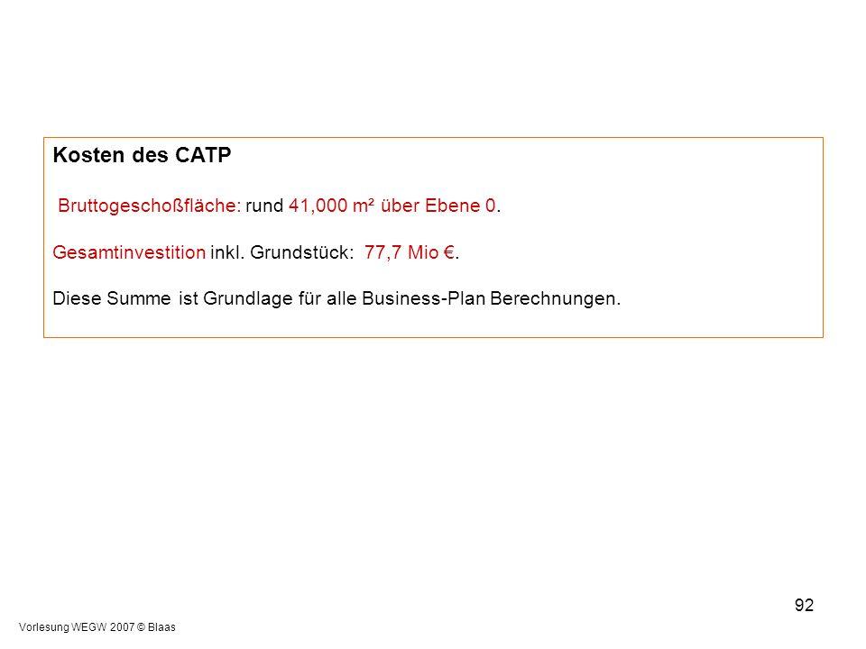 Kosten des CATP Bruttogeschoßfläche: rund 41,000 m² über Ebene 0.
