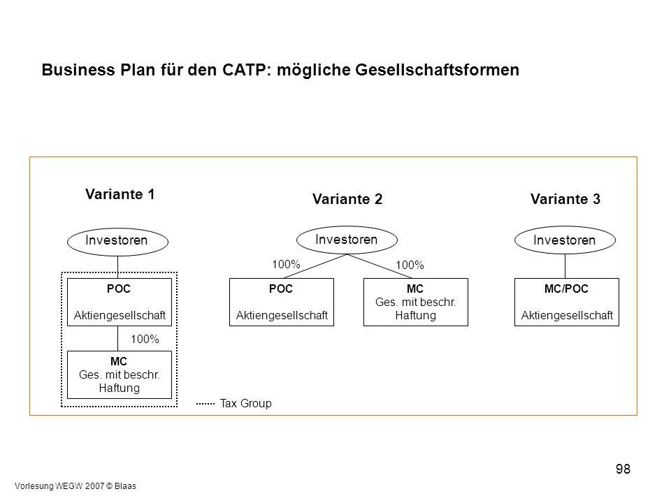 Business Plan für den CATP: mögliche Gesellschaftsformen