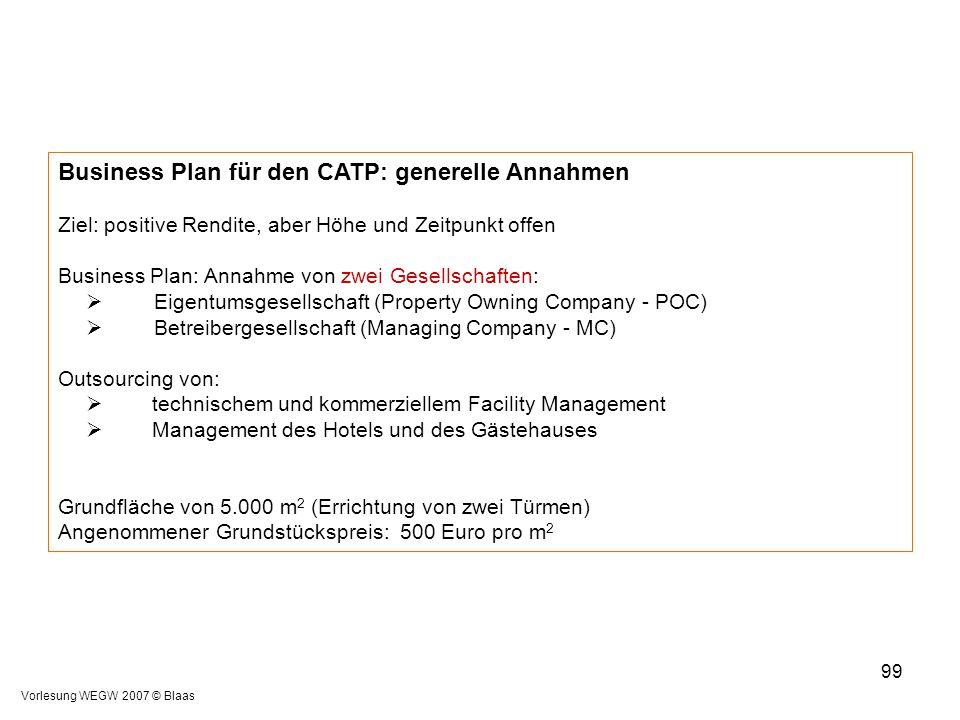 Business Plan für den CATP: generelle Annahmen