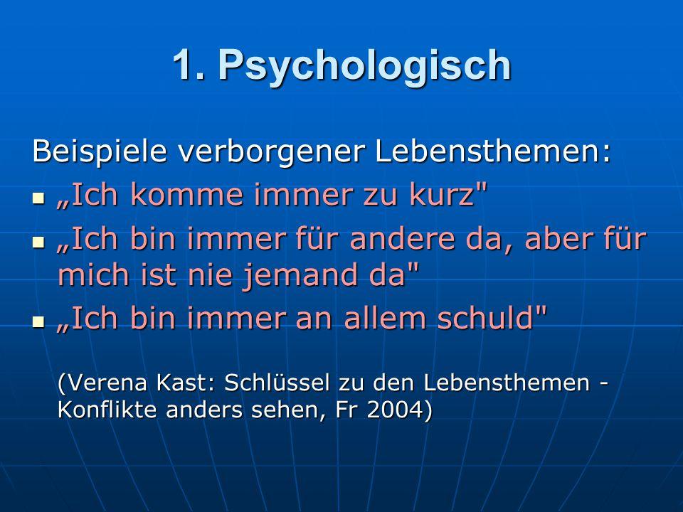 1. Psychologisch Beispiele verborgener Lebensthemen: